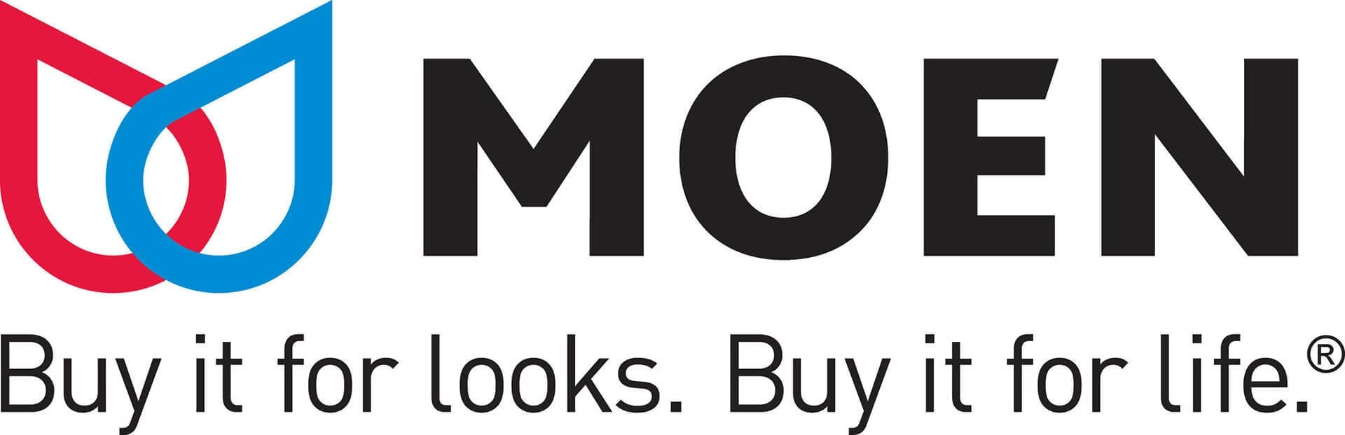 Moen logo with tagline: buy it for looks, buy it for life