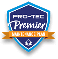 Navy and blue badge with orange banner reading Pro-Tec premier maintenance plan icon