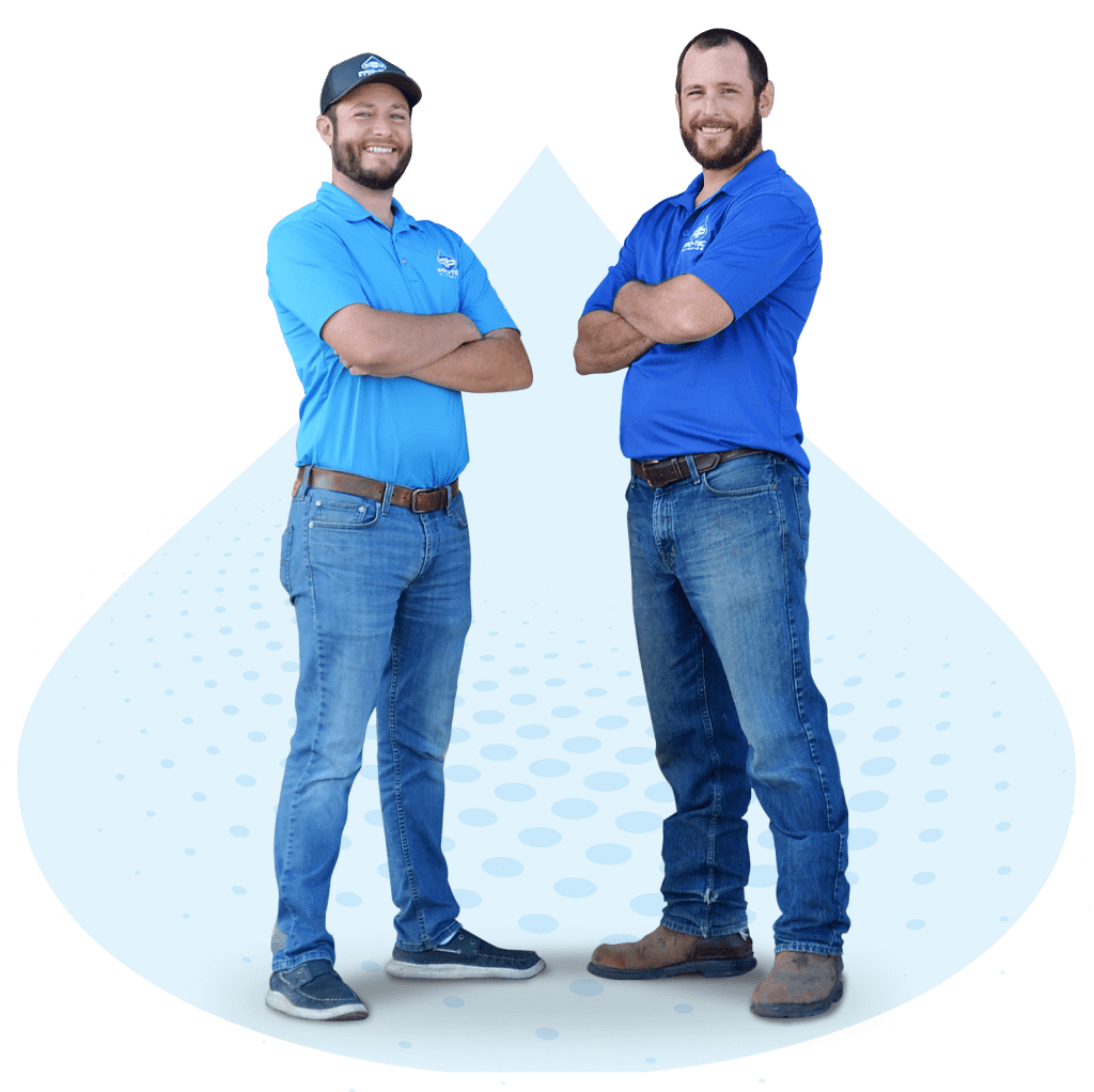 Pro-Tec Plumbing & Drains leaders Brandon Hume and Rick Hume standing with arms crossed and drop of water in the background.
