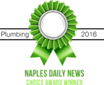 Naples Daily News Choice Award Winner badge for Pro-Tec Plumbing & Drains Plumber of the Year award in 2016